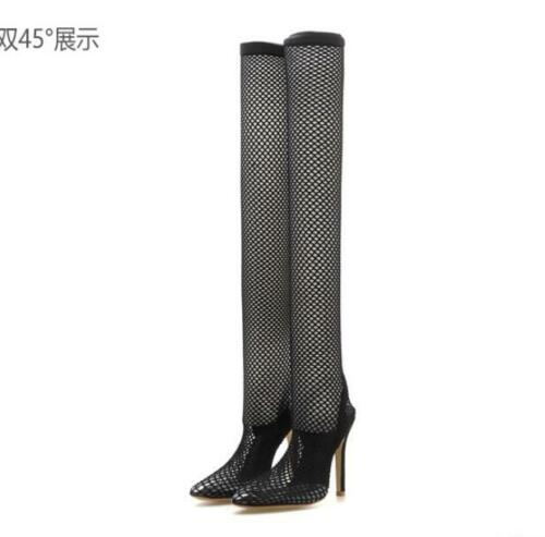 Details about  /Sexy nightclub mesh hollow high heel women/'s shoes cool boots net-shoes stiletto