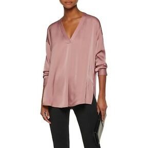 bac16aed5c36c2 NWT Vince Crossover V-Neck Blouse Stretch Silk Rose Hip Size 2  295 ...