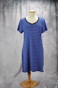 Tommy-Hilfiger-Womens-V-Neck-Striped-T-Shirt-Dress-Medium-Blue