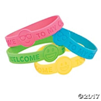Set of 24 WELCOME TO MY CLASS Rubber Bracelets Teacher Supplies BACK TO SCHOOL