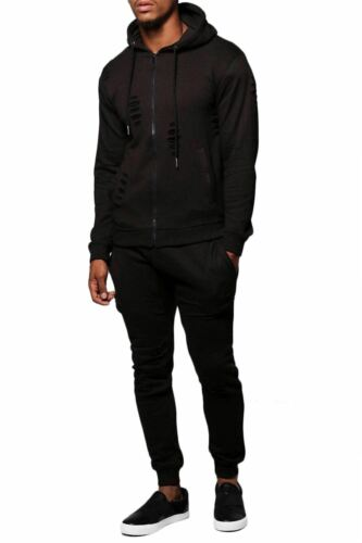 New Mens Plain Ripped Distressed Sweatpants Hooded Jacket Full Tracksuit Set