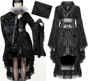Kimono robe geisha gothique lolita soirée dentelle pompons Japon PunkRave Noir