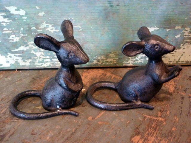Cast Iron Metal Set/2 Mice Mouse Rodent Figurine Statue Home Garden Cabin Decor
