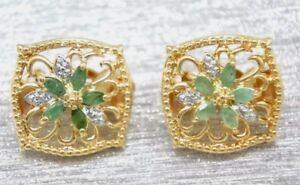 Ohrclips-Smaragd-Ohrringe-Smaragde-Diamant-925-Sterling-Silber-Vergoldet