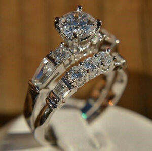 2-50ct-Round-Diamond-14k-White-Gold-Finish-Engagement-Wedding-Ring-Set