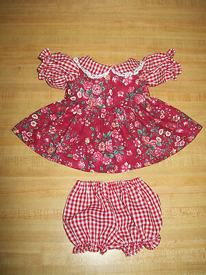 """LT PINK GINGHAM+BLUE FLOWER CALICO DRESS+PANTY for 16/"""" CPK Cabbage Patch Kids"""