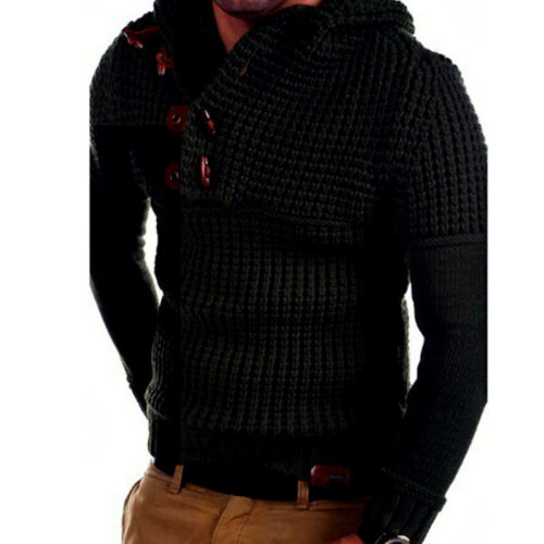 Hooded Men/'s Casual Knitted Long Sleeve Sweaters Slim Fit Pullover Tops Button