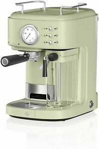 Swan Retro One Touch Espresso Machine, Green, 20 Bars of Pressure, Milk Frothing