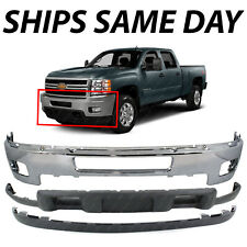New Chrome Front Bumper 3pc Kit For 2011 2014 Chevy Silverado 2500 3500 Hd 11 14 Fits More Than One Vehicle
