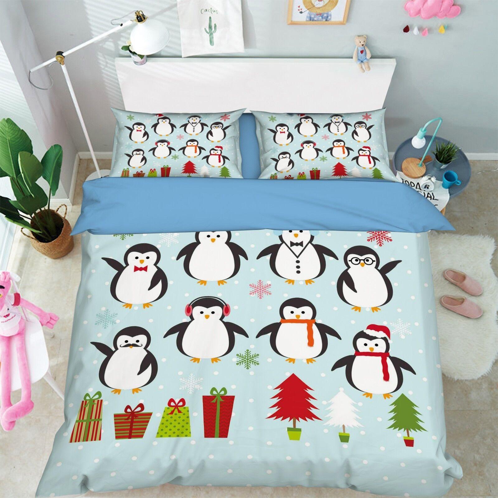 3D Winter Penguin 67 Bed Pillowcases Quilt Duvet Cover Set Single King UK Summer
