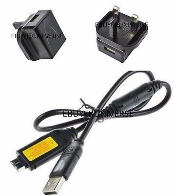 2 en 1 Reino Unido enchufe de pared de alimentación USB Cargador Para Cámara Samsung ES67 ES70 ES71