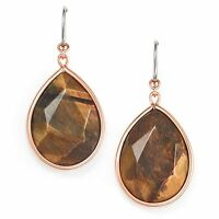 Fossil Jewelry Earrings Dramatic Drop Faceted Tiger's Eye Stone Shiny Gold Tone