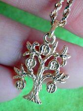 "14K Solid Yellow Gold Money Bag Tree Dollar Pendant Heavy 16"" Rope Chain 8.4g"
