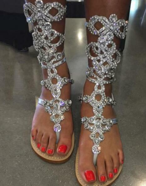 donna Rhinestone Gladiator Sandals Shiny Strap Flat Thong Beach Roman New scarpe