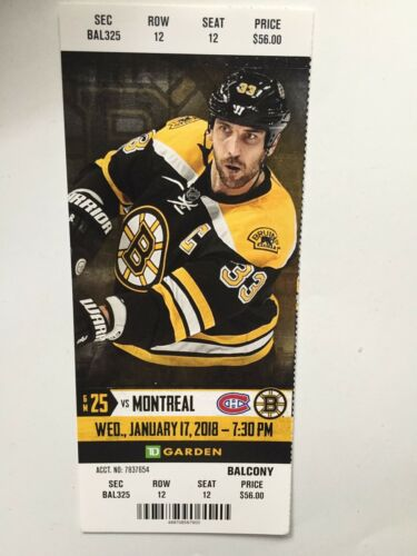 BOSTON BRUINS VS MONTREAL CANADIENS JANUARY 17 2018 TICKET STUB