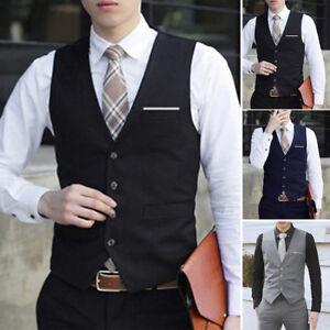 Men-039-s-Formal-amp-Casual-Business-Dress-Vest-Suit-Slim-Tuxedo-Waistcoat-Coat-M-3XL