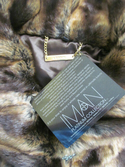 IMAN IMAN IMAN BROWN MIX PELTED FAUX FUR SWING COAT SIZE L - NWT 72336c