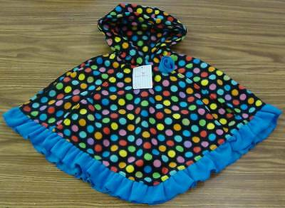 Girls' Fleece Hooded Poncho-BROWN Butterfly /& Flower-NWT Mack /& Co
