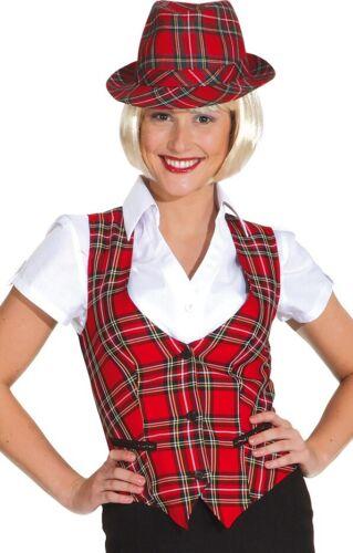 Ladies Red Tartan Burns Night Scottish Waistcoat Fancy Dress Costume Outfit 8-18