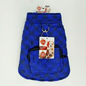 Blue Plaid Winter Dog Jacket Coat XS Fleece Lined with Zippered Pocket