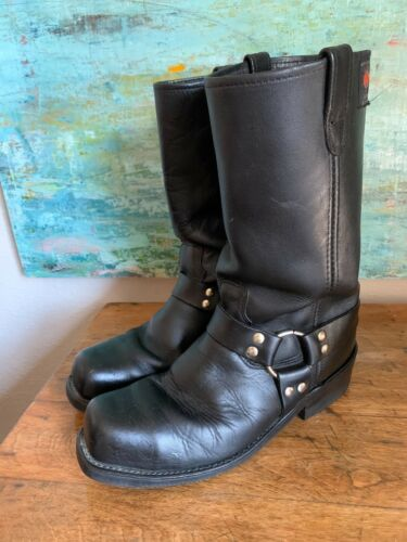 Rev Gear USA  Mens 10.5 D  Black Tall Leather Moto