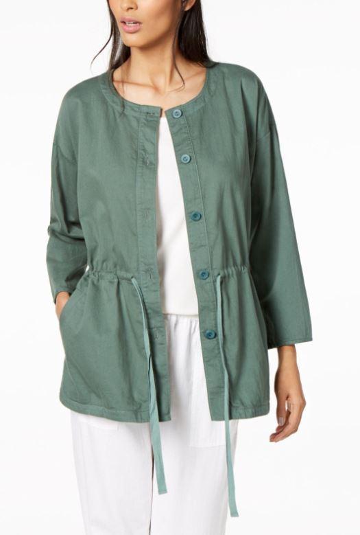 Eileen Fisher  Nori Sarga de algodón orgánico suave Chaqueta De Cordón L  más orden