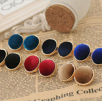 Fashion Women's Lady Round Velvet Gold Plated Charms Stud Earrings Jewelry Gift