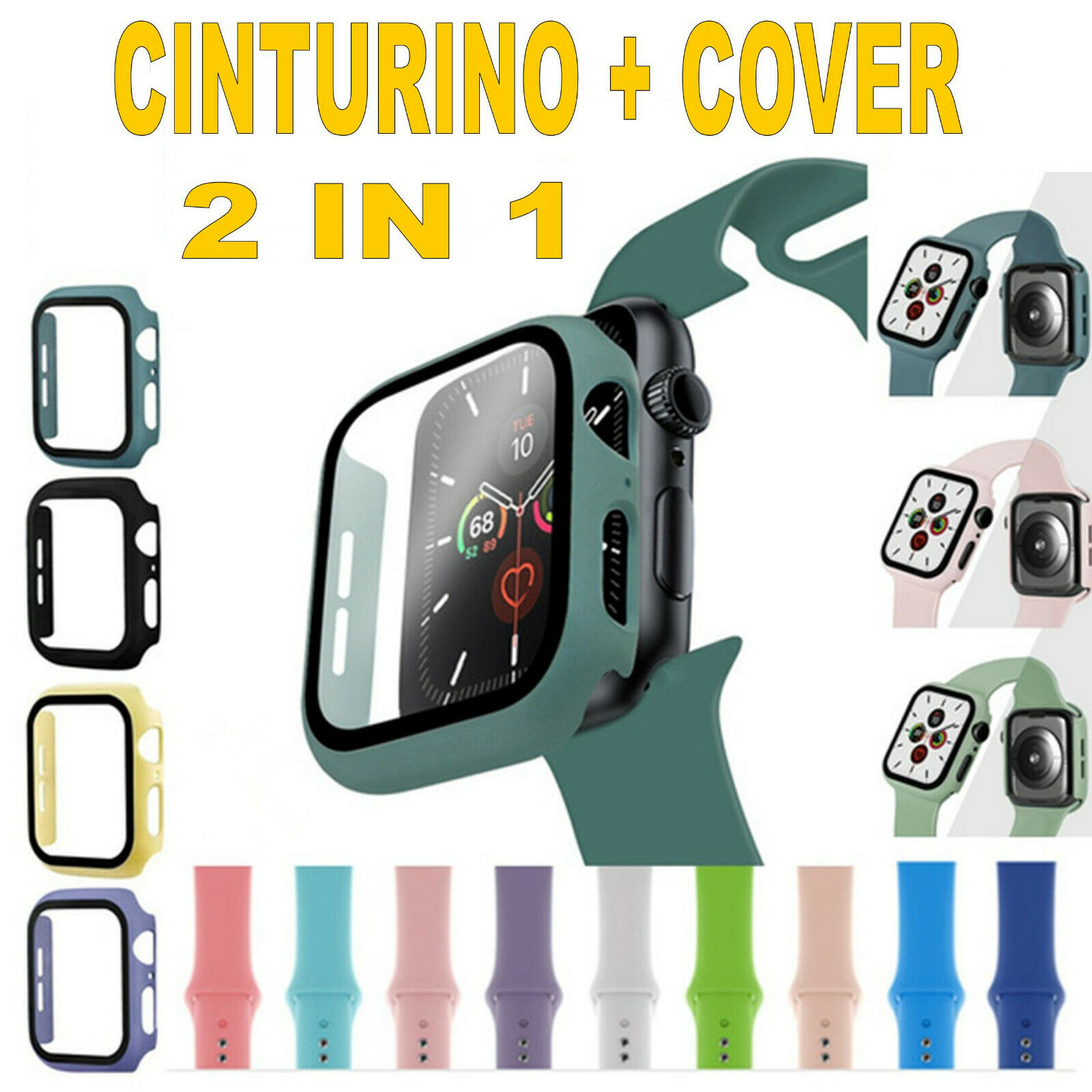 iwatch: Cinturino orologio silicone Apple Watch Serie 5/4/3/2/1 38/40mm 42/44mm + COVER