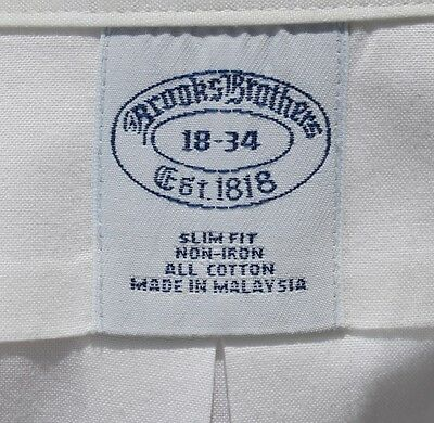 Brooks Brothers 18/34 Slim Fit Gentleman's White Non-Iron All Cotton Dress Shirt