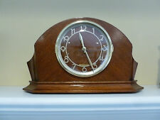 ART DECO MAHOG WOOD CASE ATOMIC / RADIO CONTROLLED QUARTZ MANTEL CLOCK