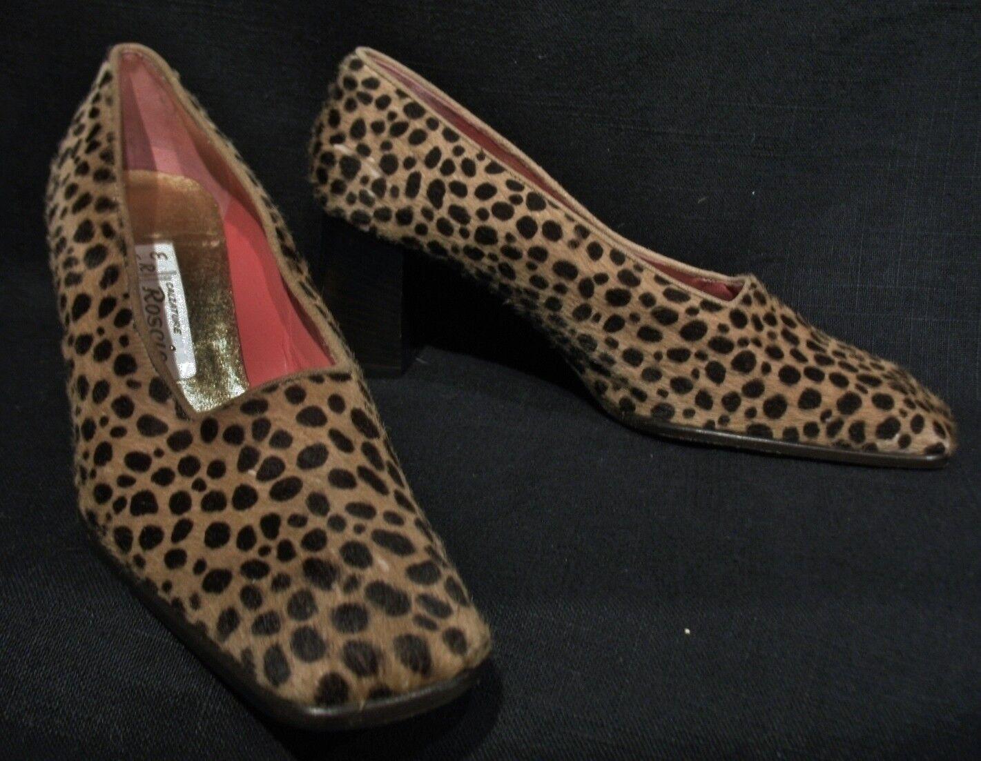 LUXUS Kalbsfell DESIGNER Echt Vintage PELZ LEDER Leo Leopard Vintage Echt Pumps Stöckelschuhe 460c4e