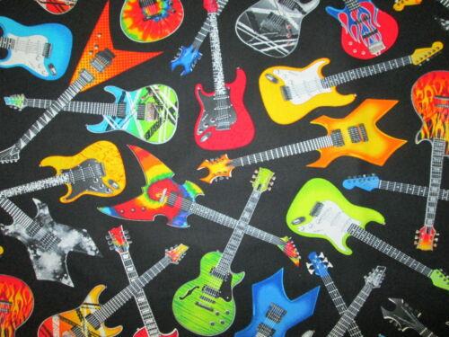 ROCK GUITARS ROCK /& ROLL COLORFUL COTTON FABRIC BTHY