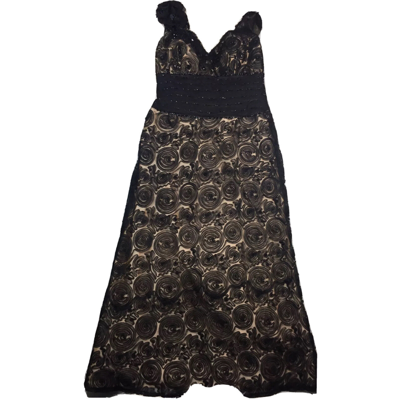 Montage by Mon Cheri Gown Dress Womens 18 Nude Black Overlay Beaded Rosette MOB
