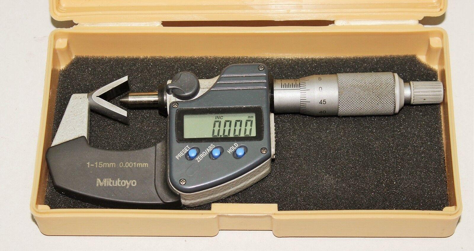 Digitale Bügelmessschraube für 3-schneidige Werkzeuge MITUTOYO - 1-15 mm 0,001