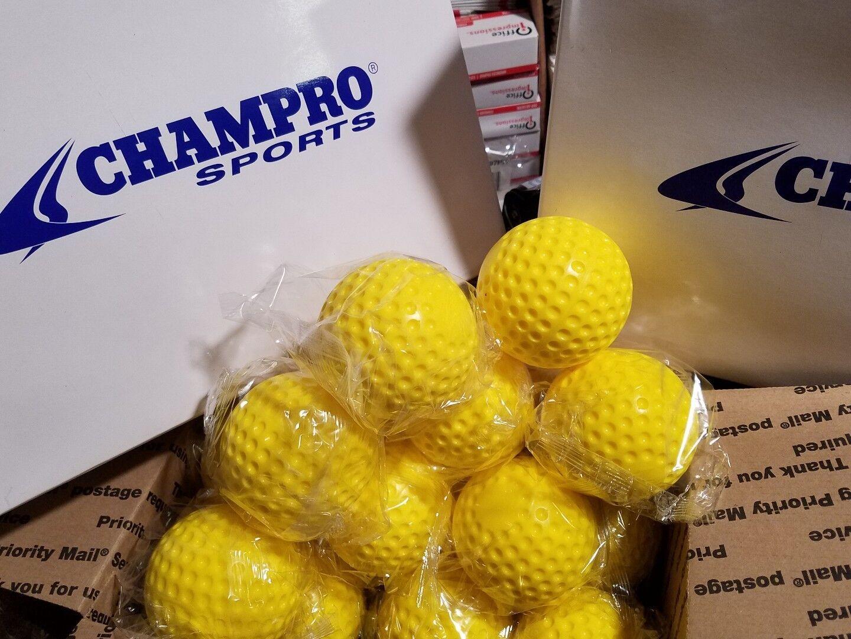 3 docena (36) Champro 9  (en) Moldeado jaula de bateo oro Hoyuelo práctica pelotas de béisbol