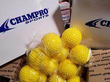 8 Dozen (96) Champro 9 Inch Yellow Dimple Molded Batting Cage/practice Baseballs