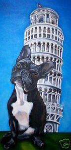 FAWN FRENCH BULLDOG MARTINI Dog Art PRINT by VERN