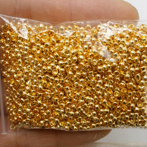 750 Pcs gold tone crimps round findings beads h0280