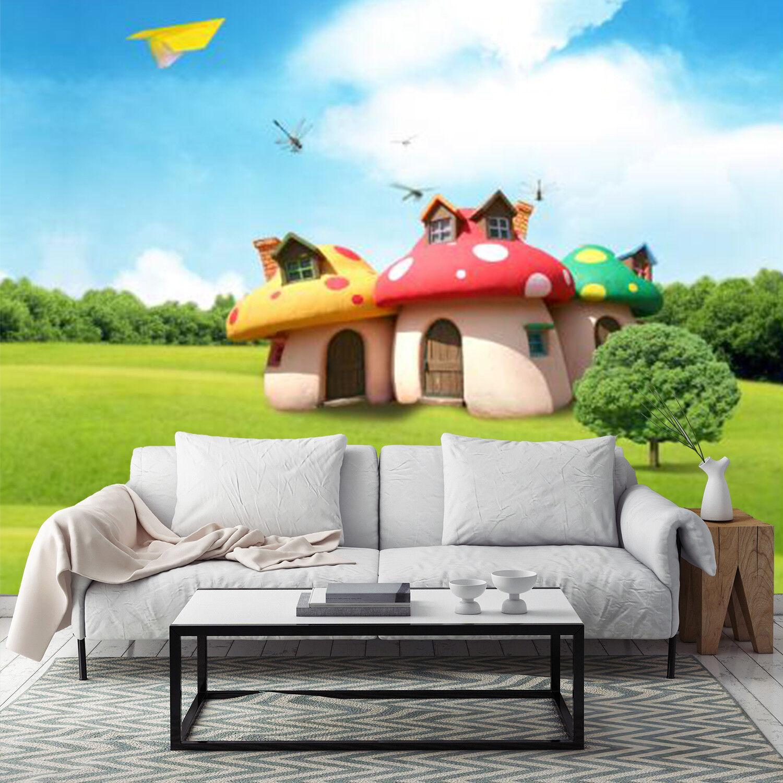3D Mushroom House 4 Wallpaper Murals Wall Print Wallpaper Mural AJ WALL AU Lemon