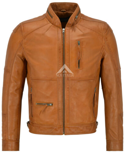 Men/'S LEATHER JACKET Tan biker moto stile collare Zip in Pelle 100/% 9056