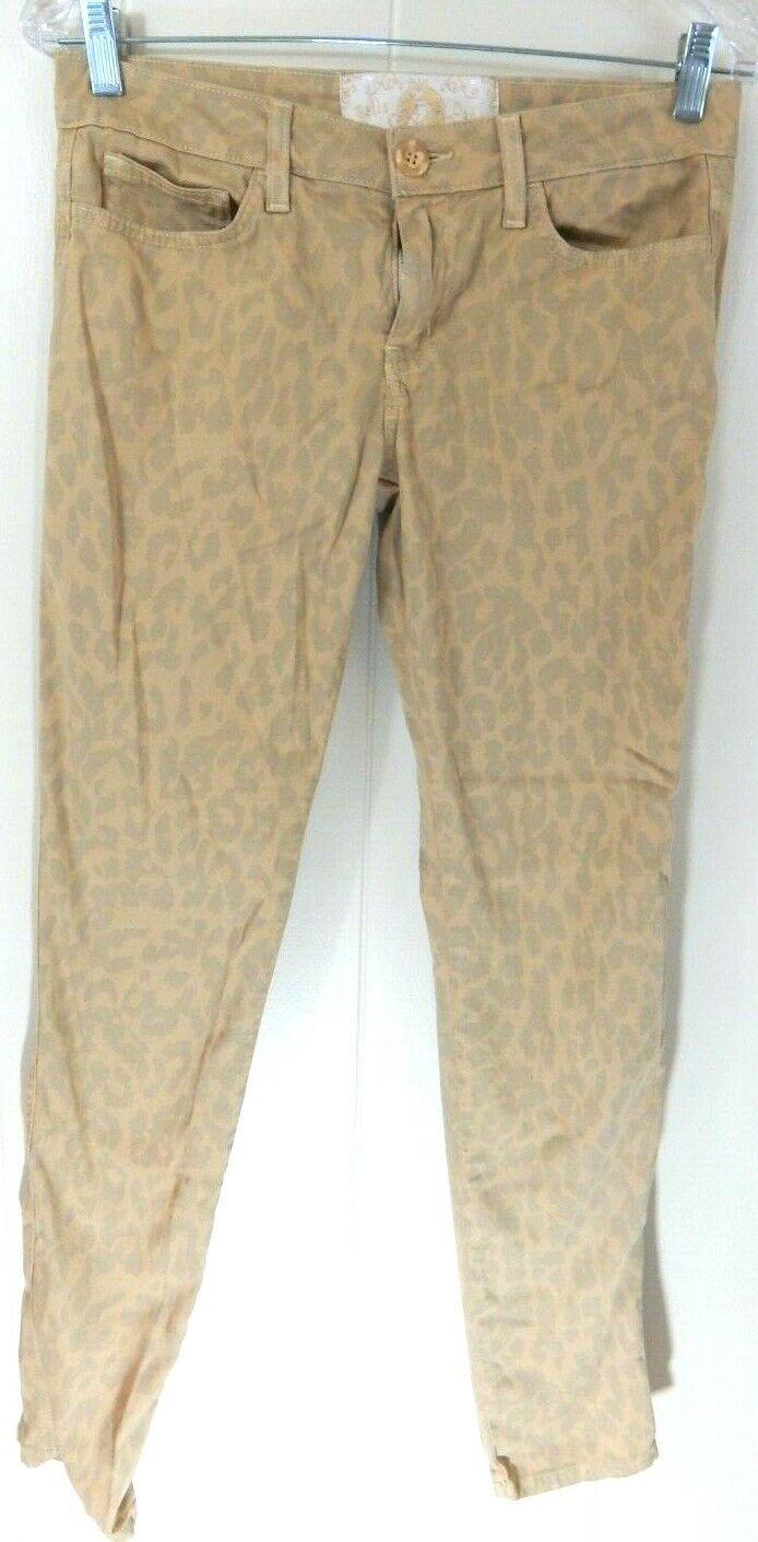 Bella Dahl Women's 28 6 Jeans Beige Leopard Print Skinny Slim Anthropologie EUC