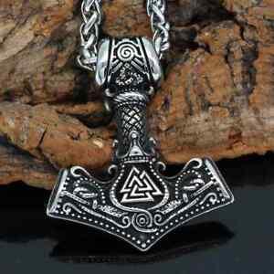 Anhänger Thors Hammer Edelstahl Triqueta mit Kette Wikinger Halskette Vikings