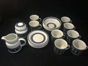 ROYAL-DOULTON-Blue-White-034-Tangier-034-Stoneware-Bowls-Cups-Saucers-1974-1982
