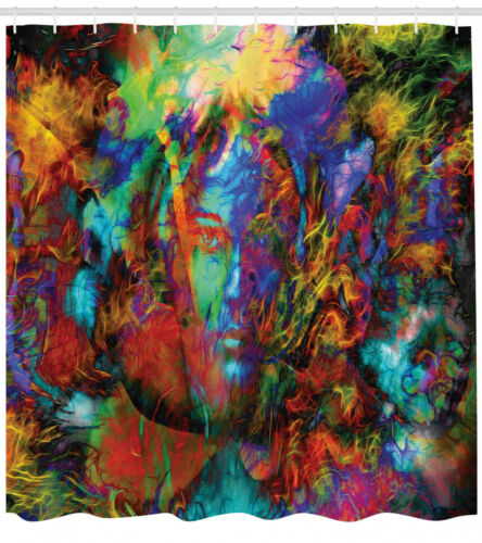 Abstract Art Shower Curtain Woman Face Spirit Print for Bathroom