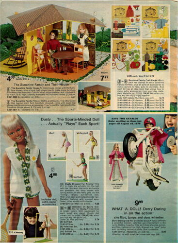 1974 ADVERT Shirley Temple Doll Mary Poppins Dusty Derry Daring Motorcycle