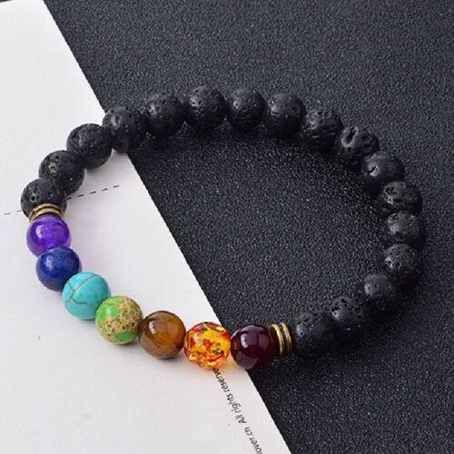 7 Chakra Lava Stone Diffuseur Bracelets pierres naturelles Yoga méditation guérison 8 mm
