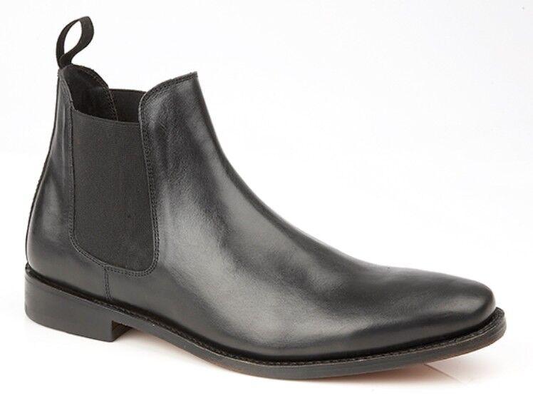 MENS SIZE 7 8 9 10 11 12 REAL BLACK LEATHER SOLE SLIP ON CHELSEA DEALER BOOT
