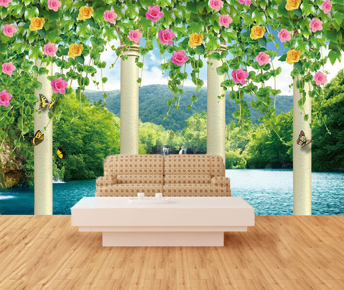 3D Lake Mountain 55 Wall Paper Wall Print Decal Wall Deco Indoor Wall Murals