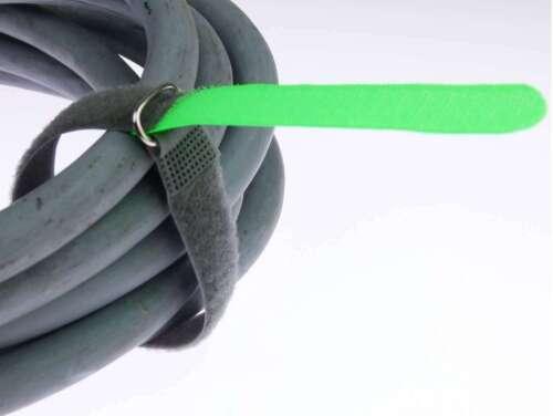 20x Kabelbinder Kabelklett 30 cm x 20 mm neon grün FK Klettband Klettkabelbinder