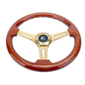 14-034-Wood-Grain-Steering-Wheel-6-Bolts-1-75-034-Dish-Gold-Chrome-Spoke-Fit-For-Acura